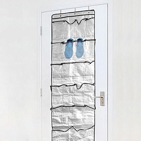 Kany 22poche sur la porte, Organiseur, rangement à chaussures Sac de rangement armoire rack de rangement avec crochets en métal argent