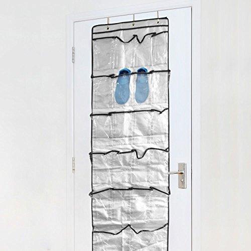 Kany Organizzatore a 22 tasche da appendere alla porta, Borsa per Riordinare Scarpe Rack di Stoccaggio per Armadio con Ganci Argento