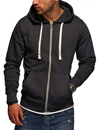 JACK & JONES Herren Sweatjacke Hoodie Kapuzenjacke Sweatshirt Kapuzenpullover (X-Large, Dark Grey Melange)