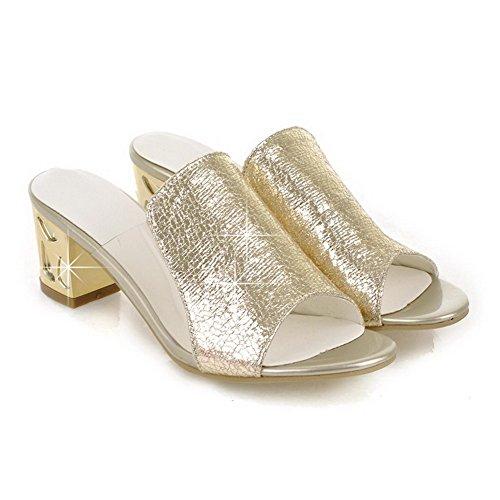 AllhqFashion Damen Offener Zehe Mittler Absatz Weiches Material Rein Ziehen Auf Sandalen Golden
