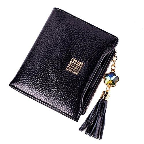 Genda 2Archer Moda Fiore Nappa Bi-Fold Portafogli e Pelle Borsa per la Donna (Blu) Nero