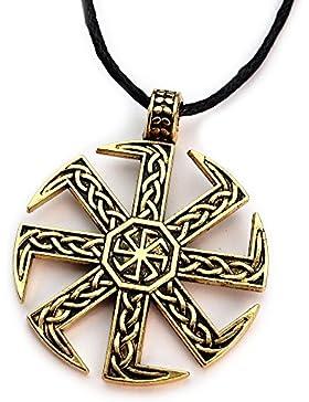 Miss–E–Jewels TM Antik Silber kunstvolles Viking slawischen kolowrat Gold Sonne Anhänger Halskette Damen Herren...