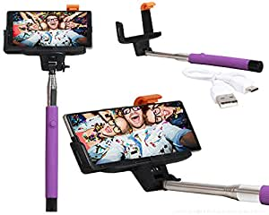 Selfie Stick Extendable Monopod With Inbuilt Bluetooth Remote Wireless Shutter Connectivity Compatible For Reliance Jio LYF Water 3 -Purple