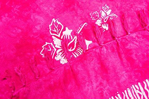 ManuMar Damen Sarong | Pareo Strandtuch | Leichtes Wickeltuch mit Fransen-Quasten Mini-Rock 55x155 cm Pink Hibiscus