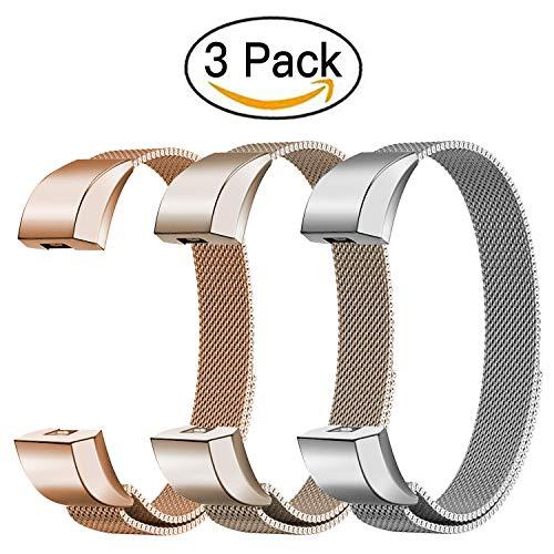 FashionAids Armband für Fitbit Alta HR Straps Fitbit Alta Straps Bänder, Metall Edelstahl Armband mit einzigartigem Magnetverschluss für Fitbit Alta/HR Fitness Tracker (ohne Tracker)