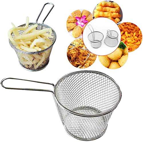 Hukz Galvanisieren Sie Edelstahl-Mini-Bratnetz-runde Block-Maschen-Küchengeräte,Zylindrischer Pommes-Korb,Imbissstand mit doppelter Tasse Pommes Stehen (C)
