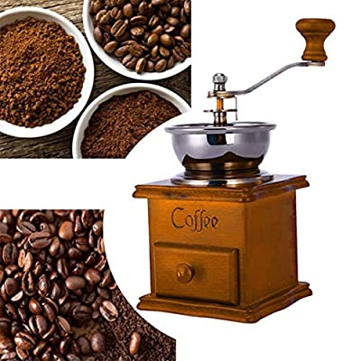 Zinniaya Household Hand Grinder Coffee Grinder Coffee Maker Coffee Bean Grinder Antique Appearance Stainless Steel Wooden Base by Zinniaya-20190710