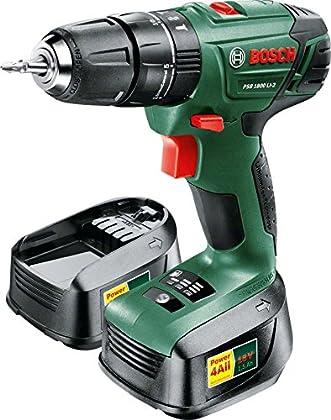 Bosch PSB 1800 LI-2 Negro, Verde - Taladro (Taladro recto, perforacion, Desatornillar, Negro, Verde, 8 mm, 3 cm, 1 cm)