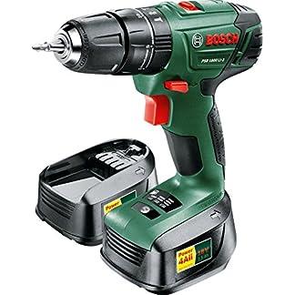 Bosch PSB 1800 LI-2 drill Sin llave Negro, Verde 1,3 kg – Taladro eléctrico (1 cm, 3 cm, 38 Nm, 38 Nm, 19 Nm, 400 RPM)