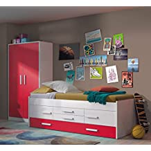 Dormitorio Juvenil en color blanco y frentes magenta modelo HUELVA