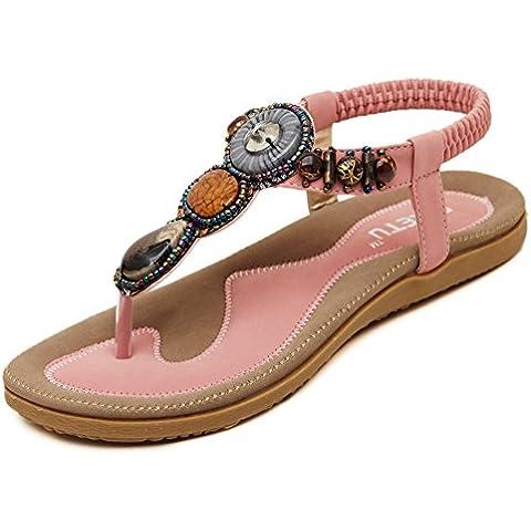 Auspicious beginning femminile Boemia rotonda Scarpe peep toe clip perlina Elastic T-Cinghiaromano dei sandali della spiaggia di estate sandali scarpe piane delle cinghie