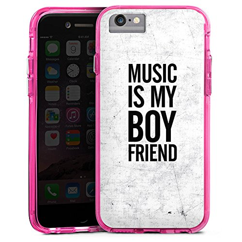 Apple iPhone 6 Bumper Hülle Bumper Case Glitzer Hülle Musik Music Love Bumper Case transparent pink
