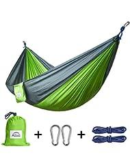 Apriller Hamac ultra léger en nylon multifonctionnel 1 ou 2 personne 300kg max (270X140cm) pour voyager , Camping, randonnée.
