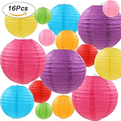 Gertong 16 Lanternes de Papier Colorées (Taille de 4', 6', 8', 10'),Décorations Chinoises/Japonaises en Papier Suspendu pour Lanternes à Boule Lampes