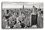 Printed Paintings Leinwand (120x80cm): Stadtebilder Skyline New York Schwarz-weiß Kunst Art Grau