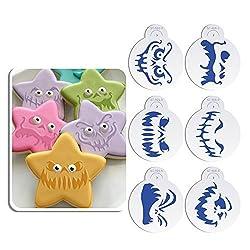 ART Kitchenware 6pcs Happy Halloween Ghost Face Cookie Cake Decoration Stencil Set Cake Decorating Supplies Cookie Mold ST-916 Beige/Semi-Transparent