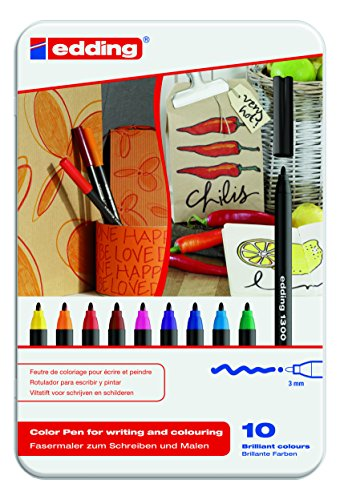 Edding 4-1300-10 Fasermaler Color Pen, circa 3 mm, sortiert