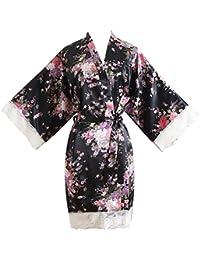 GUCIStyle Kimono Pijama de Seda Novia Kimono de Seda Bata de Vestir túnica lencería Ropa de