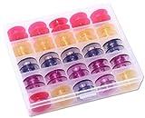 25 bunte Spulen für Pfaff Nähmaschinen Gruppe J in praktischer Box, Spulenbox