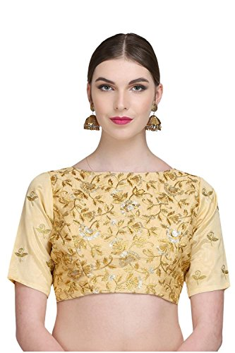 Kaanchie Nanggia Women's Brocade & Poly Dupion Embroidered Padded Designer Saree Blouse(BL1351_38_Beige)