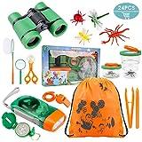 Tintec Set de Juguetes para niños al Aire Libre Explorer 24 Piezas, niños de 3-10 años de Aventura al Aire Libre Juguetes educativos Regalo de cumpleaños para niños con Mochila Brújula Binocular