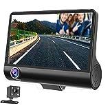 Auto Dash Cam, 3 Kanal DVR Recorder   Dual Camera Dash Cam Vorder- und Rückseite   Fahrzeugkamera mit G-Sensor, Parkmodus, Loop-Aufnahme + Nachtsicht-Rückfahrkamera