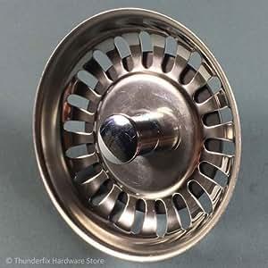 Bonde à bouchon Avec Tige 79mm Dia. Évier Panier Poubelle en acier inoxydable bouchon de vidange