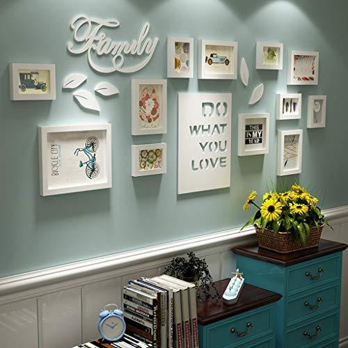 ollage Brief pastoralen Schlafzimmer Wohnzimmer massivholz kreative kreative Foto Wand Ornament Rahmen Wand Fotorahmenwand (Farbe : All White) ()