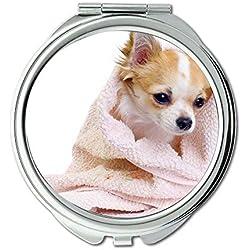 Yanteng Spiegel, Reise-Spiegel, Stop Cute Dogs Hund frei, Taschenspiegel, 1 X 2 X Vergrößerung