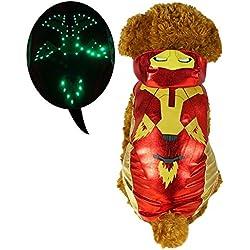 pawow LED luz hasta el tigre disfraz de perro cachorro mascota sudadera con capucha mono ropa