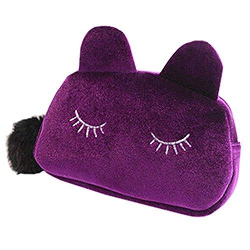 CAOLATOR Cute Peluche Dibujos Animados Pen Estuche Maquillaje Bolsa Monedero Cartera Estilo de Gato(Púrpura)