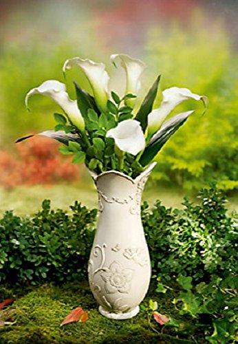 Unbekannt Grabvase Flora Friedhofsvase Steckvase Grabschmuck Vase Kunststein mit Engel