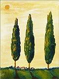 Posterlounge Holzbild 100 x 130 cm: Toskanamini Pinien und Zypressen 2 von Christine Huwer