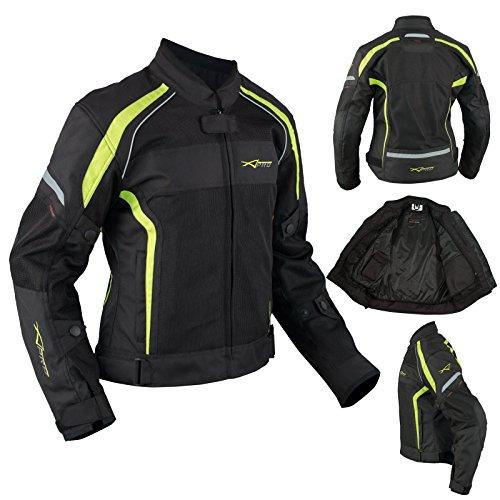 Donna giacca moto tessuto impermeabile traspirante riflettente fluo m