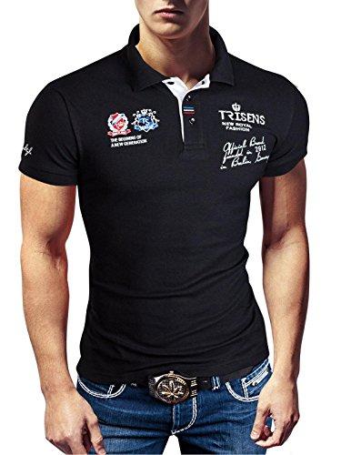 Polo New Poloshirt T-Shirt Shirt Hemd Party Slim Herren Kurzarm Pique Wow, Farbe:Schwarz, Größe:XXL