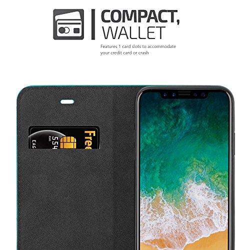 Apple iPhone X Hülle in KAFFEE-BRAUN von Cadorabo - Handy-Hülle mit unsichtbarem Magnet-Verschluss Standfunktion und Karten-Fach für iPhone X Case Cover Schutz-hülle Etui Tasche Book Klapp Style PETROL-TÜRKIS