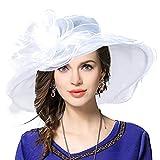VECRY Femme Église Derby Robe Fascinator Mariée Baptême Fête Chapeau de Mariage (Blanc)