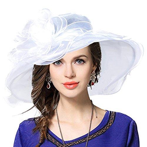 Double Layer Tee Top (Damen Kirche Derby Kleid Fascinator Braut Mütze Britischer Tee Party Hochzeit Sonnenhüte (Weiß))