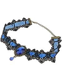 Mujeres De La Moda ovalo Azul De Encaje De Cuello Joya Colgante De Collar De Gargantilla Gruesos