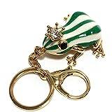 Schlüsselanhänger Grüne Frosch kreative Schlüsselanhänger Metall Der Frosch mit weißen Streifen und Strass