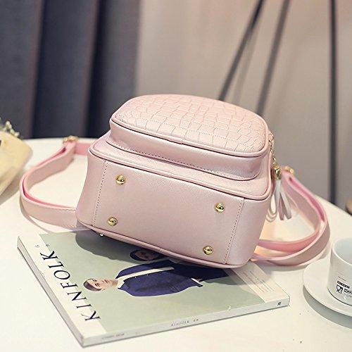 Le donne Zaini moda Pu pelle borsa a tracolla coccodrillo modello piccolo zaino goffrato borse scuola per ragazza rosa