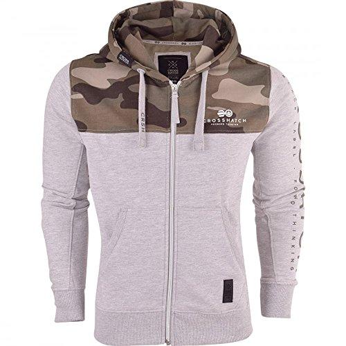 Mens Camo Hoodie Crosshatch Zip Up Hooded Full Zip Jacket Pullover Jumper Sweatshirt
