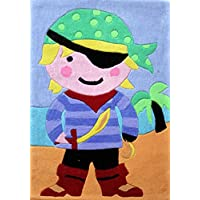 Flair Rugs Kiddy Play Pirate Childrens Rug, Multi, 70 x 100 Cm