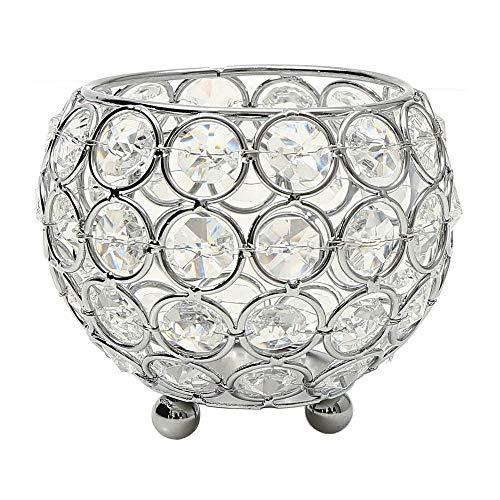 VINCIGANT Kerzenhalter Schüssel Kristall Kerzenständer Silber für Wohnzimmer Dekoration Couchtisch Dekor Tabelle Kernstück,Durchmesser 10cm