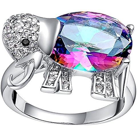NYKKOLA Fashion Beautiful placcato in argento Sterling 925, con anello a forma di elefante per donna o ragazza,