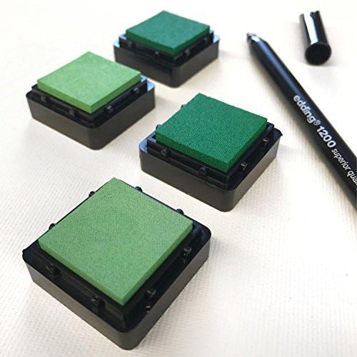 KATINGA Stempelkissen (4er Set) Grün INKL. Stift für Fingerabdrücke, zum Basteln und zum kreativen Gestalten