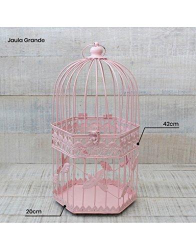 Hogar y Mas Jaula Decorativa Rosa de Metal para decoración - Diseño Elegante France - Modelo Viva la Vita Grande