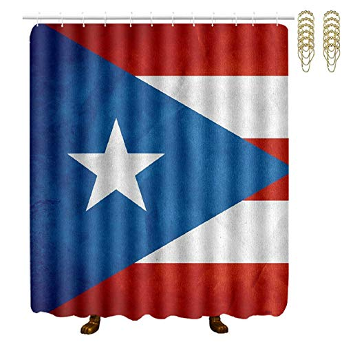 Setyserytu Duschvorhang,Waterproof Fabric Bath Curtains Puerto Rico Flag Waterproof Bathroom Shower Curtain with Gold Hooks 70x70 Inch Spa Bathroom Accessories Decor Art Betsey Johnson Zebra
