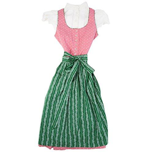 Almsach® Mädchen Kinderdirndl 3tlg. altrosa Trachtenkleid Dirndl, Bluse Schürze - Marken - Dirndl Set- ArtNr.: 220/318 (Baumwolle Kittel Taufe Kleid)