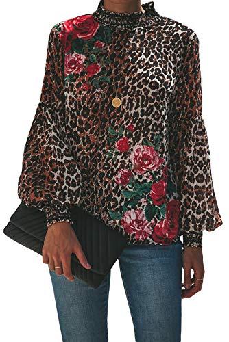 Betty-Boutique Leopard Peony Print Smocked Bluse MIT Langen ÄRMELN Größe 12